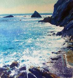 Languid Tide, by Richard Thorn Paintings I Love, Seascape Paintings, Landscape Paintings, Watercolor Paintings, Watercolor Water, Watercolor Landscape, Floral Watercolor, Watercolour Tips, Art Oil