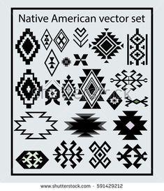 Native American design elements vector set