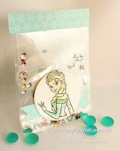 Papierkreationen.net Eine transparente Schüttelkarte mit Disneys Elsa und Olaf (auf der Innenseite)