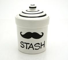 Moustache Jar Small cannister Stash Jar by LennyMud on Etsy
