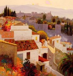 Tagged with painting Watercolor Architecture, Art And Architecture, Landscape Art, Landscape Paintings, Urban Sketching, Mexican Art, Colorful Paintings, Modern Wall Art, Famous Artists