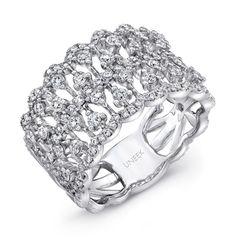 """Uneek Fine Jewelry - """"Coralline"""" Open Lace Diamond Band in 14K White Gold. Featuring 118 round brilliant cut white diamonds (combined weight of 1.10 carats) nestled in multiple rows down the finely textured coralline-inspired mesh-like openwork filigree. Handcrafted in Los Angeles, CA     Style # LVBW322W - UneekJewelry.com"""