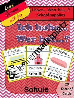 """""""Ich habe... Wer hat...? Schule"""" - Vokabelspiel – Deutsch, D.a.F. / D.a.Z."""