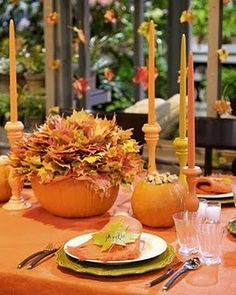 Thanksgiving...like the leaves on fishing line hanging from the chandelier... Halloween Wedding Centerpieces, Fruit Centerpieces, Centerpiece Decorations, Autumn Centerpieces, Fall Table Settings, Beautiful Table Settings, Place Settings, Thanksgiving Decorations, Halloween Decorations