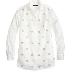J.Crew Bullion Hearts Shirt ($54) ❤ liked on Polyvore featuring tops, shirts, j crew shirts, heart tops, long sleeve tops, long white shirt and long length shirts
