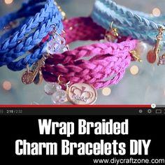 Wrap Braided Charm Bracelets DIY ►► http://www.diycraftzone.com/wrap-braided-charm-bracelets-diy/?i=p