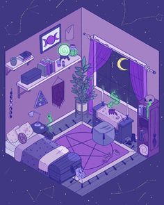 vaporwave drawing Messing around with the isometric drawing guides that procreate recently added, and I love it! Perspective is my biggest struggle with Isometric Drawing, Isometric Design, Uicideboy Wallpaper, Bedroom Drawing, Japon Illustration, Kawaii Art, Pastel Art, Aesthetic Art, Aesthetic Bedroom