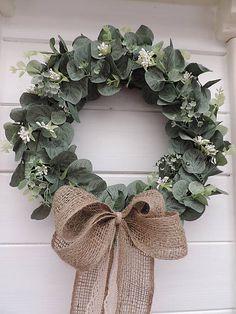 Clarah / Eucalyptový veniec Vence, Burlap Wreath, Shabby, Wreaths, Home Decor, Decoration Home, Door Wreaths, Room Decor, Burlap Garland