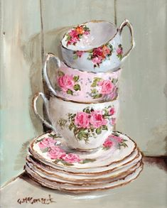 Ready to Frame Print - 3 stacked tea cups - Postage is included Worldwide