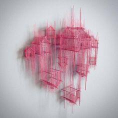 Floating cities : superbe projet de l'artiste David Moreno Sculpture Ornementale, Floating House, Floating Cities, Architectural Sculpture, Craft Stick Crafts, 3d Craft, Wire Art, Art Portfolio, Oeuvre D'art
