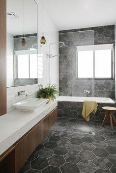 Know the 9 Best Bathroom Flooring Options for Your Home geometric tiles in bathroom [simple decoration ideas, interior design, home design, decoration, dec Bathroom Flooring Options, Best Bathroom Flooring, Bathroom Floor Tiles, Bathroom Renos, Bathroom Renovations, Tile Floor, Bathroom Grey, Bathroom Ideas, Vanity Bathroom