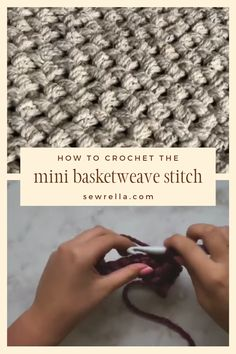 Video tutorial & free pattern for throw blanket - Crochet Mini Basketweave Stitc. Video tutorial & free pattern for throw blanket – Crochet Mini Basketweave Stitch – great for b Crochet Afghans, Crochet Motifs, Baby Blanket Crochet, Crochet Yarn, Knitted Fabric, Crochet Mandala, Knitted Bags, Crotchet Patterns, Crochet Stitches Patterns