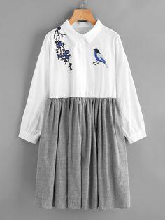 Модное платье-рубашка с вышивкой