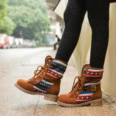 Boots, Shoes, Winter, Brown, Lovely Pattern Brown Boots, Native Print Tribal, Tights