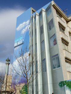 Mural in Tehran, Iran by Mehdi Ghadyanloo and his company Blue Sky Painters