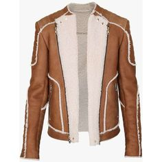 Leather and shearling biker jacket | Mens leather jackets | Balmain (36.340 DKK) ❤ liked on Polyvore featuring men's fashion, men's clothing, men's outerwear and men's jackets