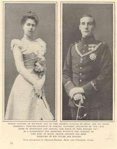 Infante Alfonso, Duke of Galliera and Princess Beatrice of Saxe-Coburg and Gotha   Married: 15 July 1909 at Coburg