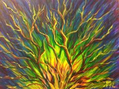 """THE BURNING BUSH shows bright HOPE! God CARES about you! Through it, God calls Moses to literally follow Him back to Egypt and free the LORD's people of Israel from unfair and unjust slavery. Art website credited to Sister PAM HERRICK. Mark we:26, Jesus said,""""But concerning the dead, that they rise, have you not read in the book of Moses, in the burning bush passage, how God spoke to him, saying, 'I am the God of Abraham, the God of Isaac, and the God of Jacob'?"""" From Prophetic Art."""