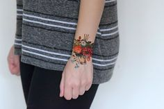 Vintage Floral Temporary Tattoo Spring Flower For by Siideways