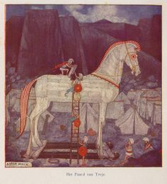 Anton Pieck The Trojen Horse. Dutch Artists, Famous Artists, Great Artists, Clarence Gagnon, Greece Mythology, Grandma Moses, Anton Pieck, Daughter Of Zeus, Troy