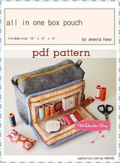 All In One Box Pouch Downloadable PDF Sewing Pattern Aneela Hoey