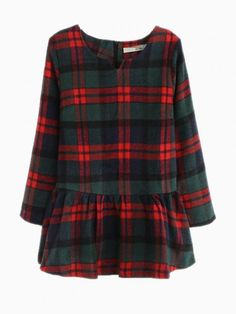 Buy Plaid Woolen Peplum Top In Green from abaday.com, FREE shipping Worldwide - Fashion Clothing, Latest Street Fashion At Abaday.com