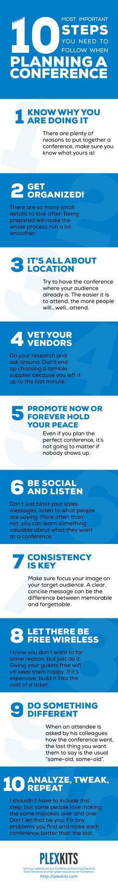 10 Most Important Steps You Need to Follow When Planning a Conference Infographic | PLEXKITS http://plexkits.com/10-steps-planning-a-conference/