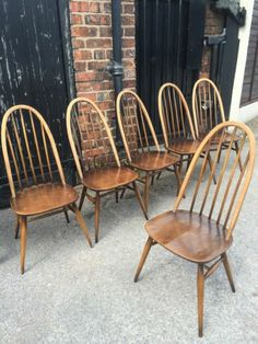 ERCOL blonde quaker dining Style chairs Set Of 6 | eBay