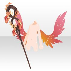 (Hand Accessories) Blaze Wizard Stick and Wings ver. Character Concept, Concept Art, Character Design, Body Reference Drawing, Art Reference, Wings Etc, Chibi, Anime Weapons, Anime Base