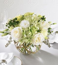 Green hydrangea and roses