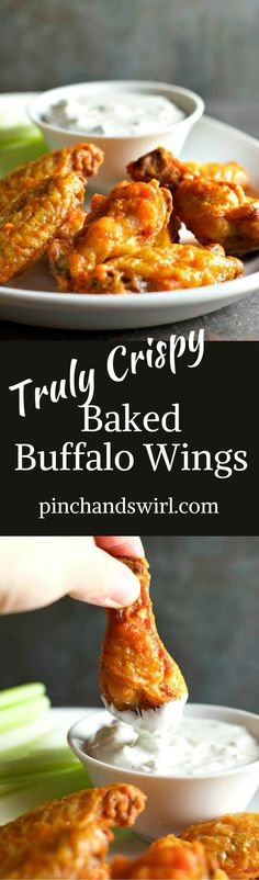 Truly crispy baked buffalo wings are possible with one simple every day ingredient! #buffalowings #appetizerrecipes #appetizersforacrowd #chickenwings #GameDay #gamedayfood