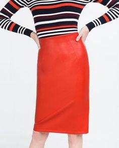 Red Vegan Leather Tube Skirt | Zara
