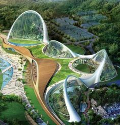 Eco Dome Environmental Center,South Korea.The Ecorium Project not only strikes to preserve a large acre of wetland and wild plants, but also meant as an educational project to help bring awareness to the people in Korea. It will in fact be used to help educating the people of the world's eco-system and the nature in order to help protecting them.