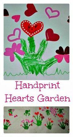 Valentine Art: Handprint hearts garden
