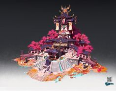 ArtStation - 学生作品, 三叠色 Size Ancient Chinese Architecture, Japan Architecture, Concept Architecture, Environment Concept Art, Environment Design, Fantasy Map, Fantasy World, Cityscape Drawing, Graffiti Pictures