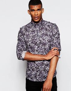 Image 1 of PS by Paul Smith Shirt with Floral Print Slim Fit