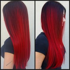 Red violet shadowroot ombre hair