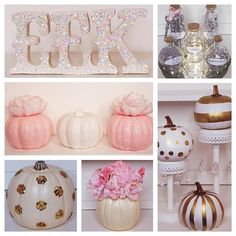 "Just a few of the DIY projects I made for Halloween! I painted and glittered the ""EEK"" sign and the pumpkins below it and then added the pink peonies on the pink pumpkins. I then glued each sequin by hand to form gold polka dots to the cream colored pumpkin. I created the pink floral arrangement in the other cream pumpkin. For the potion bottles, I wanted potions that I would like to have and to match my room (Hollywood). It's hard to read but they say ""Hopes and Dreams"", ""Pixie Dust""…"