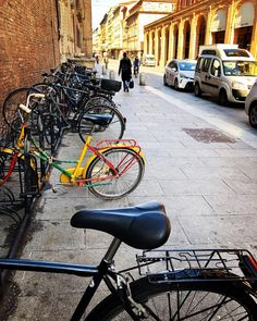 In a world of same color bicycles, be a different colorful bicycle 🚲🗺❤️🧡💛💚💙💜🖤 City Photography, Mobile Photography, City C, Travel Goals, Sunny Days, Bologna Italy, Europe, Misfits, World