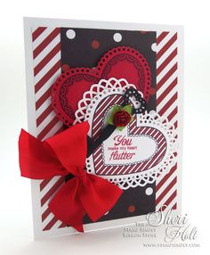 The Stamp Simply Ribbon Store - You Make My Heart Flutter -  JustRite Sweet Hearts clear stamps and the coordinating Lace Hearts die - designed by Sheri Holt