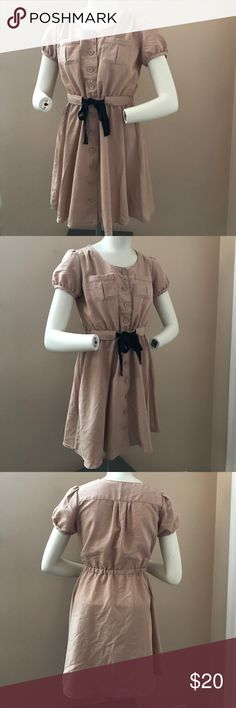 Misch Masch Dress Gently worn, great condition. Adorable cap sleeve dress. Buttons all the way down. Tie waist that is elastic inside. Looks perfect with some flats and simple jewelry. Tag was cut but it is still obvious of the brand. Bought online brand for exposure Urban Outfitters Dresses