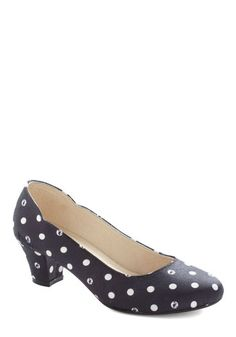 Darling Dance Steps Heel. Whether swing is your thing or your taste is for tango, these dotted heels by Madame Flamingo will guide your graceful glides across the dance floor! #blackNaN