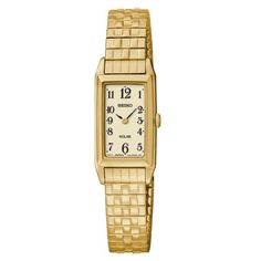 Seiko SUP244 Women's Watch Solar Gold-Tone Expansion Stainless Steel Band
