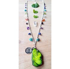 20 Green Sea Jasper Necklace with Rainbow by UrbanGypsyGems