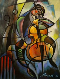 Cellist  2006 Oil on canvas 100X80 cm (MM11)  #art #painting www.sunflowers.co.il