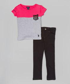 Look what I found on #zulily! Pink & Gray Tee & Black Pants - Infant, Toddler & Girls by U.S. Polo Assn. #zulilyfinds