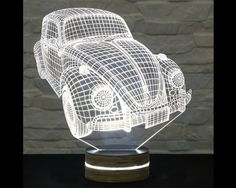 Volkswagen Beetle Shape, Bedside Lamp, 3D LED Lamp, Kids Room Decor, Art Lamp, Nursery Light, Plexiglass Lamp, Decorative Lamp, Acrylic Lamp by ArtisticLamps