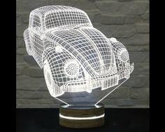 Volkswagen Beetle Shape, Bedside Lamp, 3D LED Lamp, Kids Room Decor, Art Lamp, Nursery Light, Plexiglass Lamp, Decorative Lamp, Acrylic Lamp by ArtisticLamps