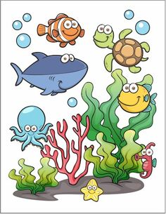 This Under The Sea Printable is a fun way to encourage the kids to practice their cutting skills. The finished project makes a pretty picture. Whale Crafts, Ocean Crafts, Beach Crafts, Dinosaur Crafts, Underwater Crafts, Underwater Theme, Under The Sea Crafts, Under The Sea Theme, Under The Sea Pictures