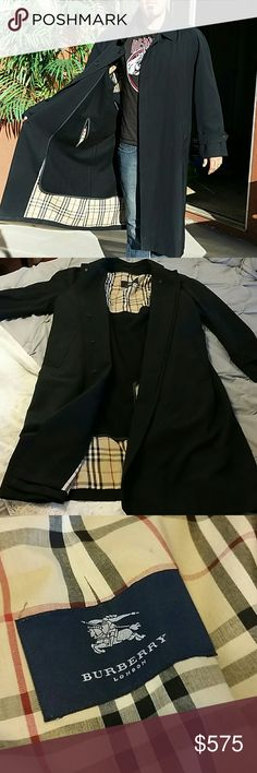Mens Burberry Black Trench Coat Size 46 R  Check inner lining with optional detachable liner. Only worn once or twice by my husband. Very well taken care of. Beautiful condition. No hood. I paid $895 originally for this coat as a gift to my husband who just never really got around to wearing it. Reasonable offers will be considered.   Modeled by my son ❤ Burberry Jackets & Coats Trench Coats